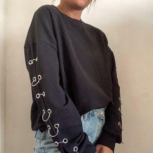 Zara Chain Crop Crewneck Sweater